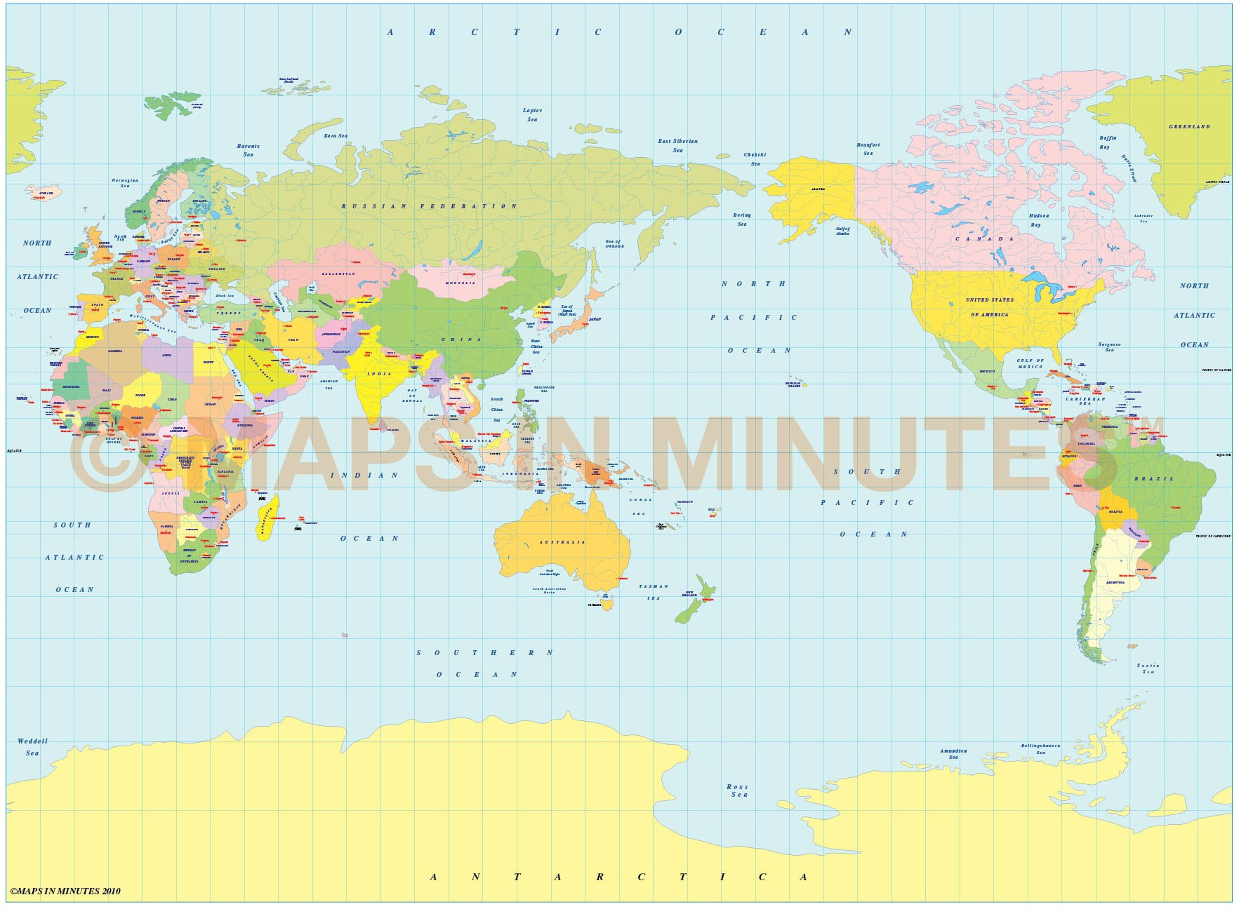 Vector world map, Miller Projection Political map small scale Japan ...