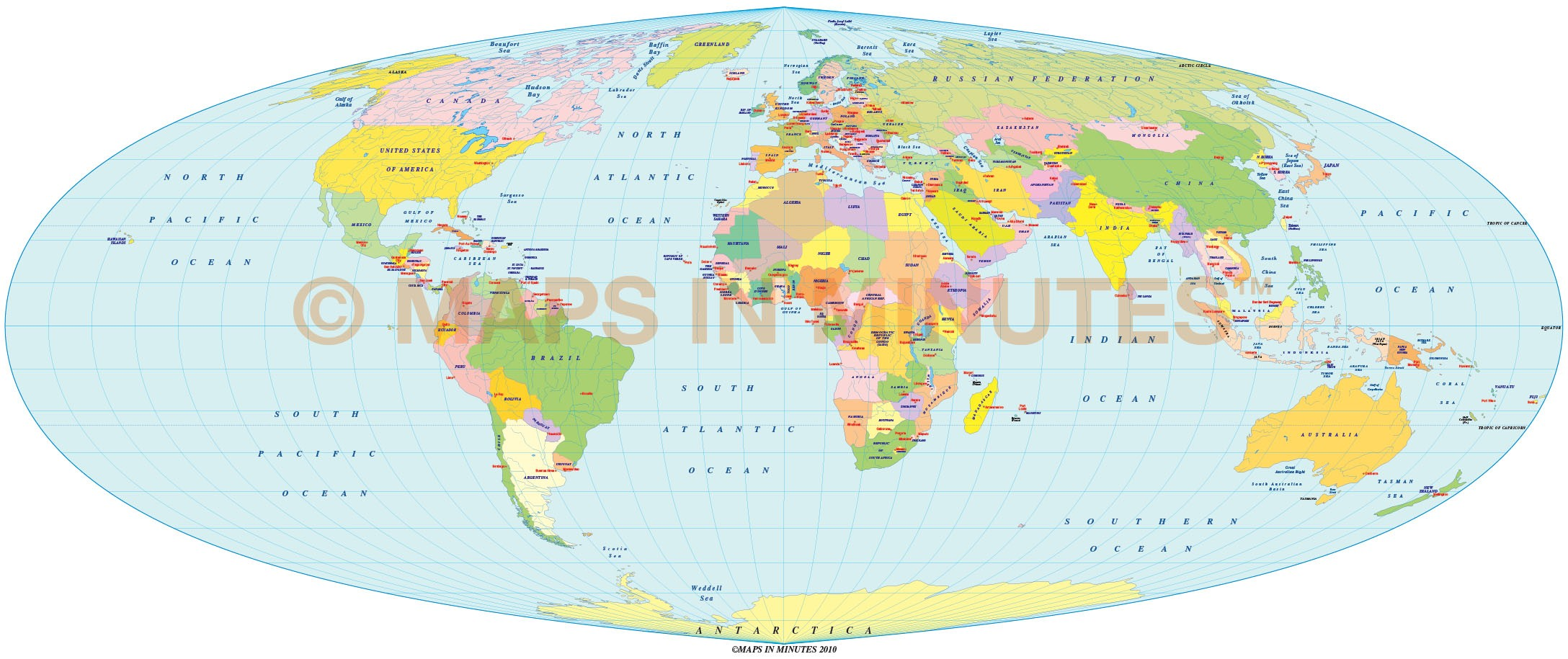Equal Area Map Vector World Political Map in the Foucaut Equal Area projection UK  Equal Area Map
