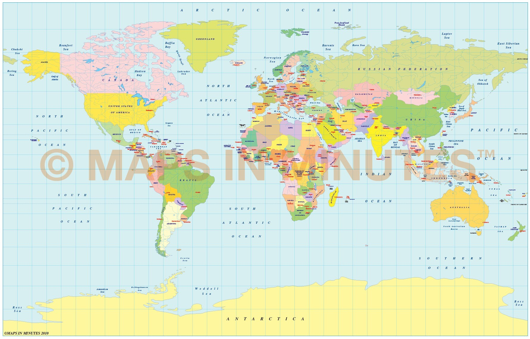 Vector World Political Map In The Braun Projection UK Centric In - World physical map hd pdf