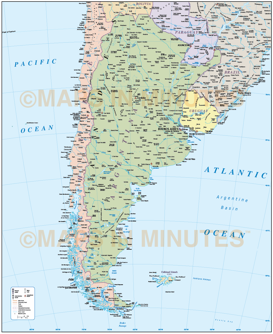 Argentina Country Political vector map in editable Illustrator and ...