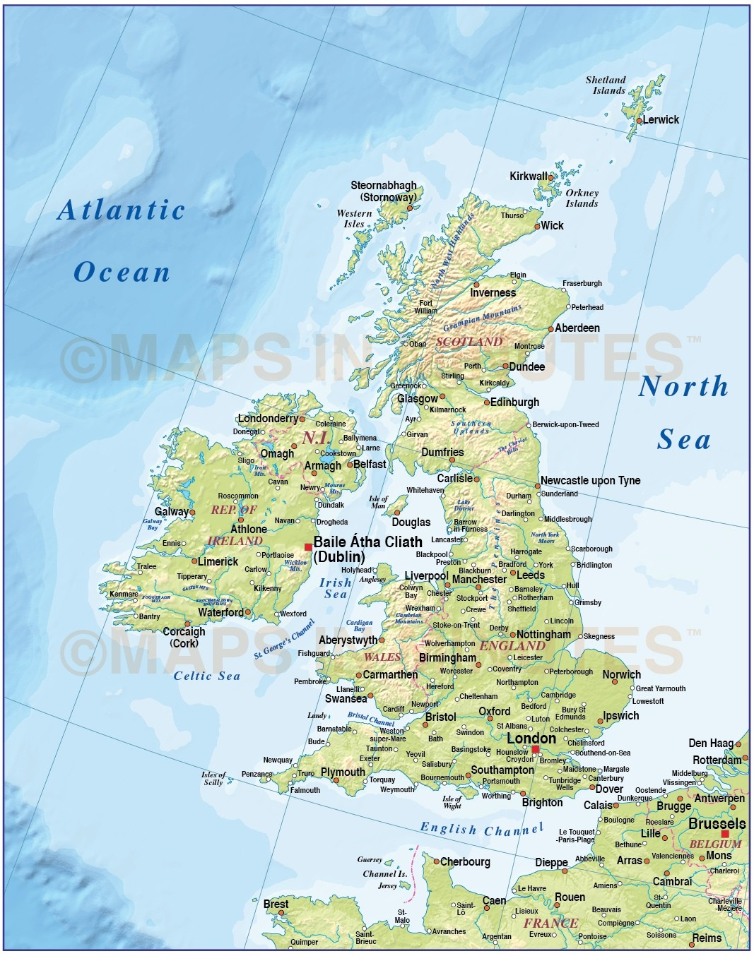 Digital vector british isles uk map basic country with regular vector british isles uk map basic country with regular contour relief 4000000 scale gumiabroncs Image collections