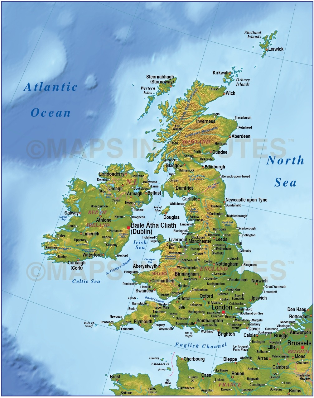 Digital vector British Isles UK map, Basic Country with ...