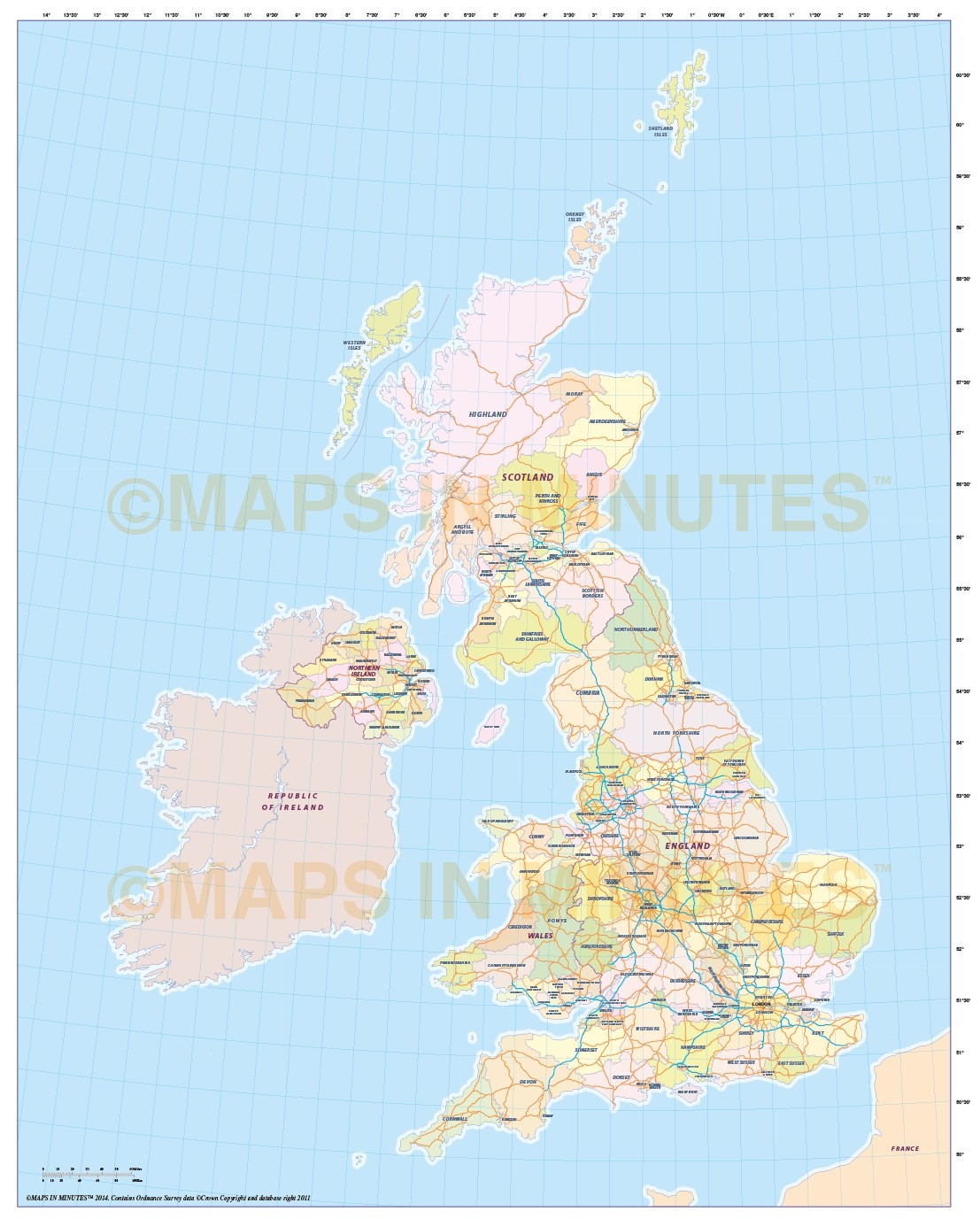 Digital UK Simple County Administrative Map Scale - United kingdom map hd pdf