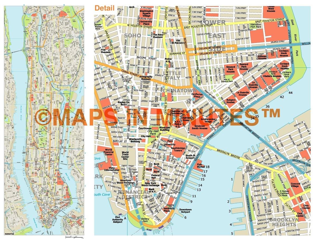 Royalty Free Manhattan Illustrator Vector Format City Map - Manhattan island map