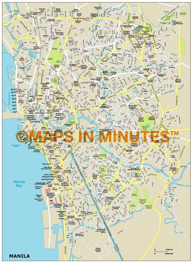 royalty free manila illustrator vector format city map