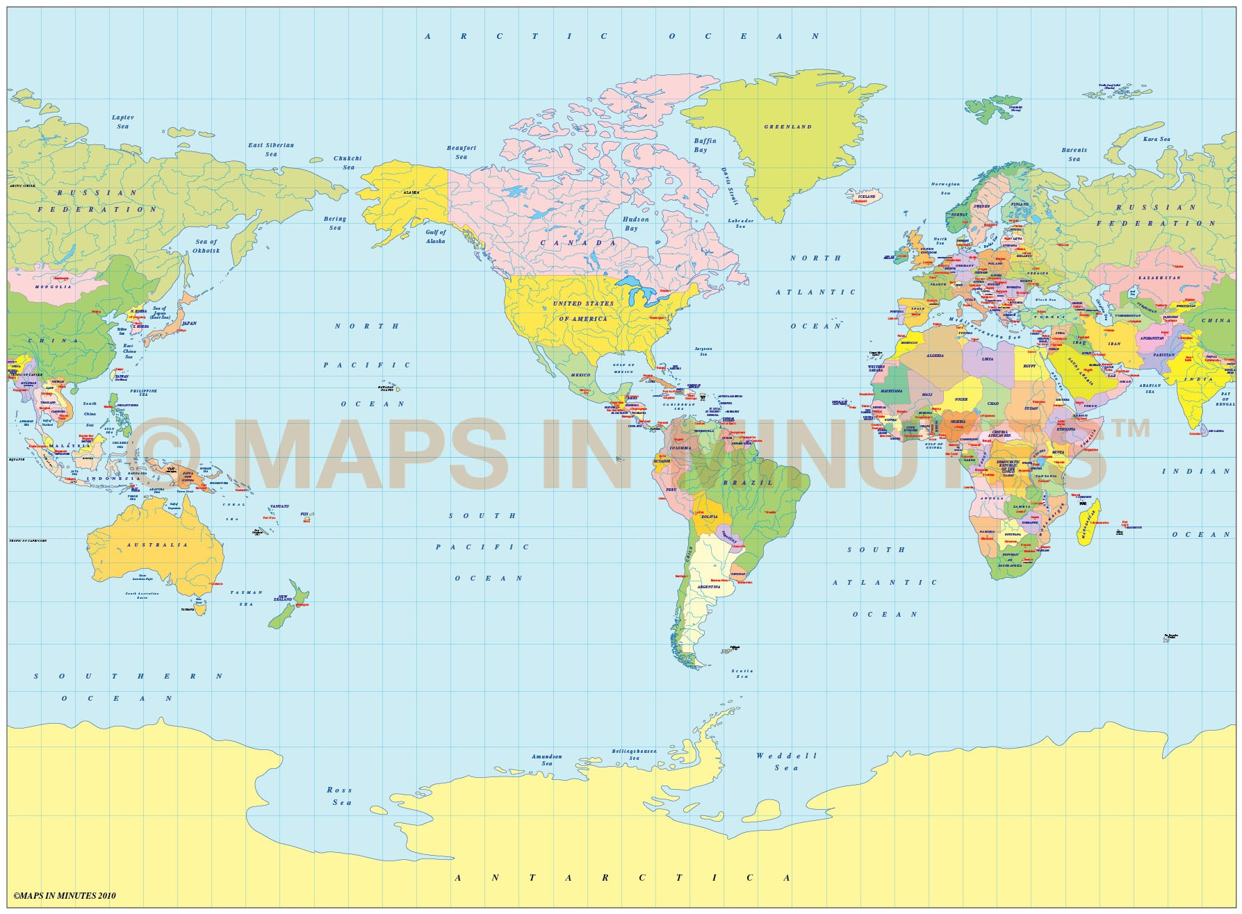 Picture of: Vector World Map Miller Projection Political Map Small Scale Us Centric In Illustrator Format