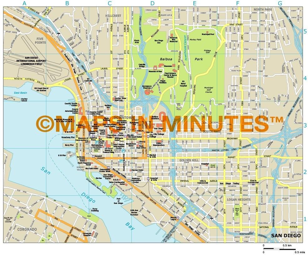 royalty free san diego illustrator vector format city map. Black Bedroom Furniture Sets. Home Design Ideas