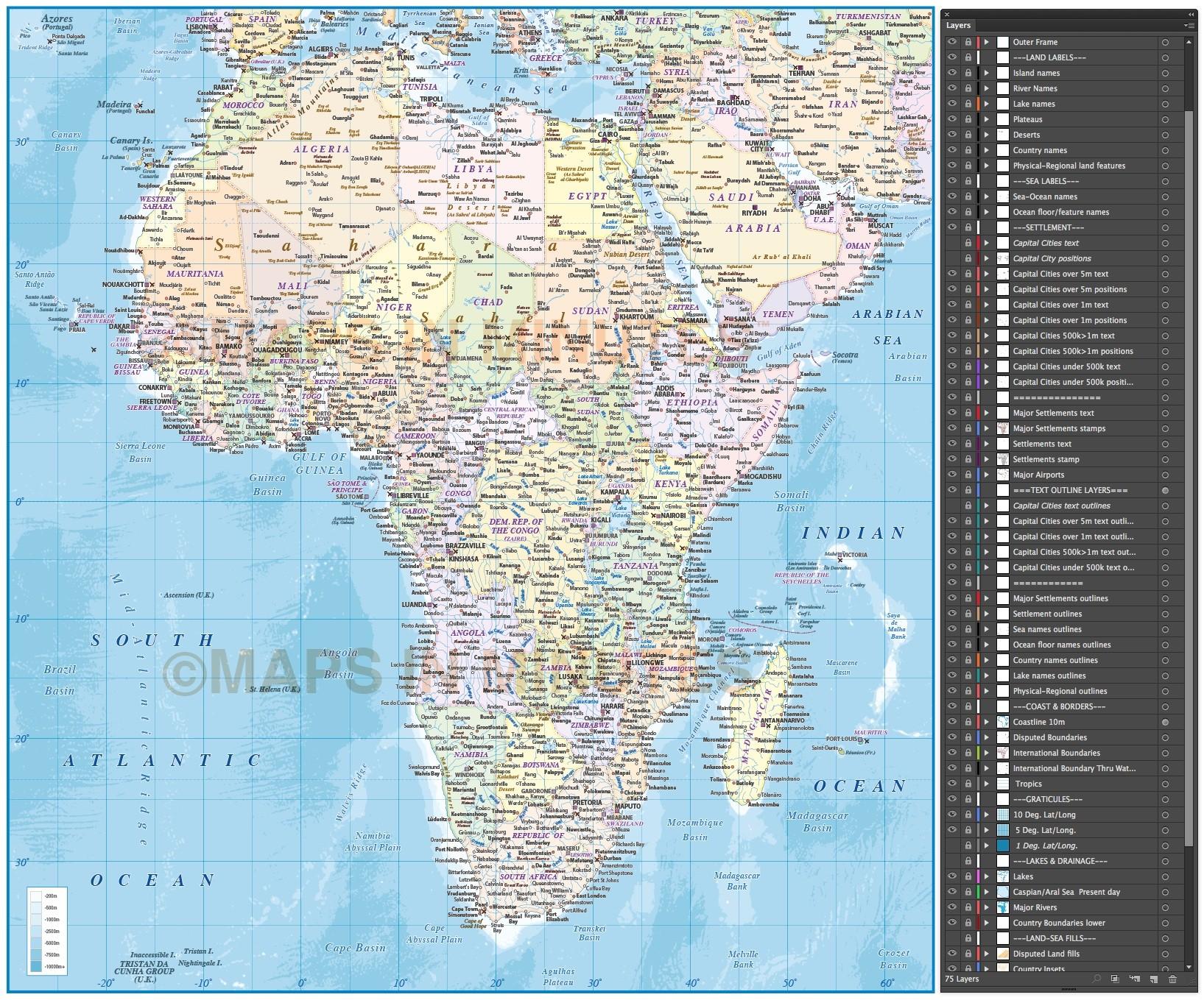 Africa Vector Map Illustrator Cs Pdf Formats Political Insets