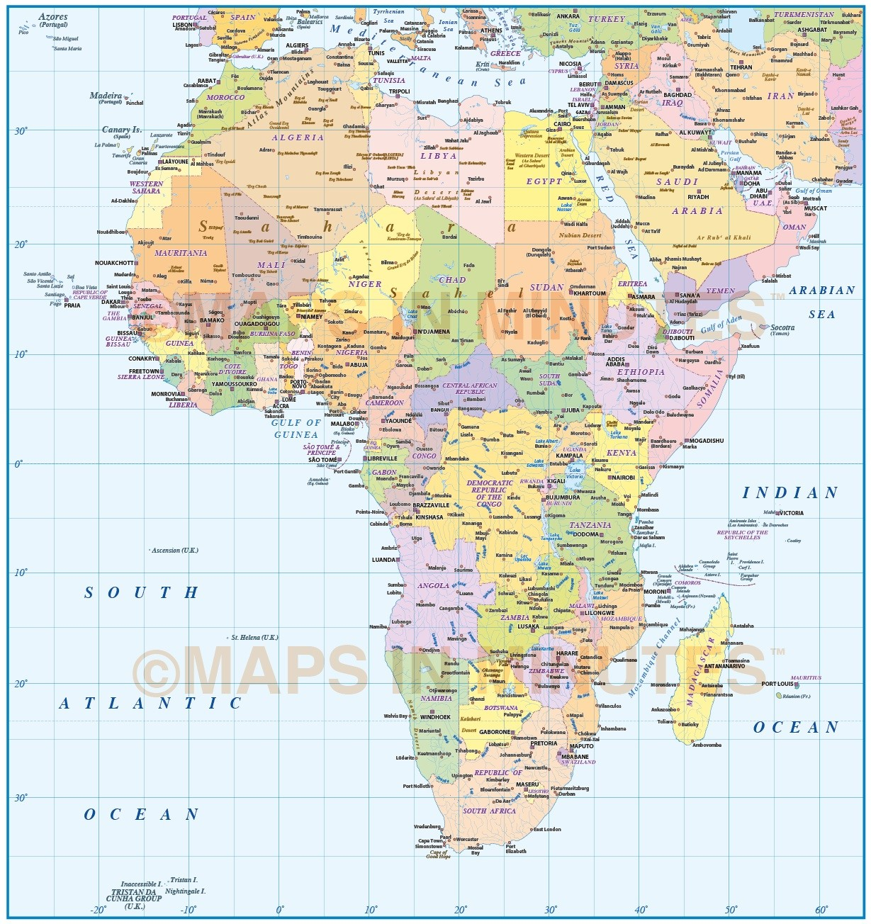 Awesome Digital Vector Map Of Africa. Basic Continent Country @10m Scale In  Illustrator And PDF