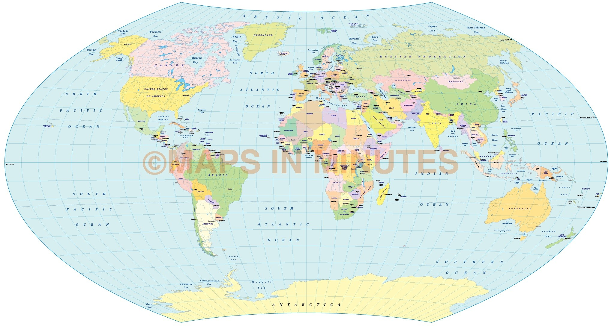 Vector political world map aitoff wagner projection uk centric in vector world map aitoff wagner projection 100m scale uk centric publicscrutiny Choice Image