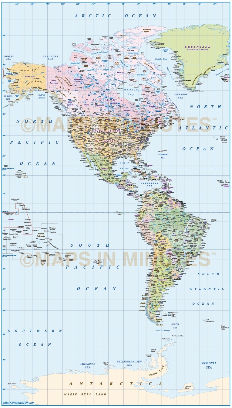 Digital Vector North And South America Political Map 10 000 000 Scale In Illustrator And Pdf Formats