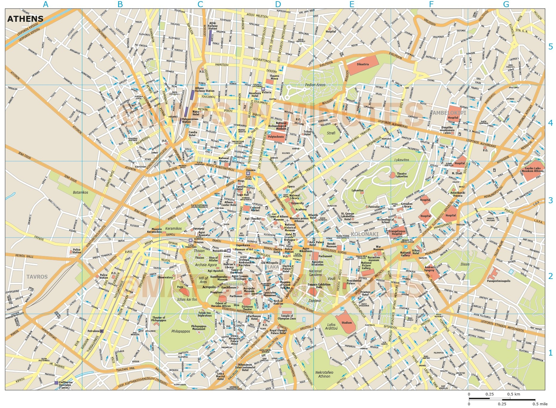 Athens city map athens city map in illustrator cs or pdf vector formats gumiabroncs Images