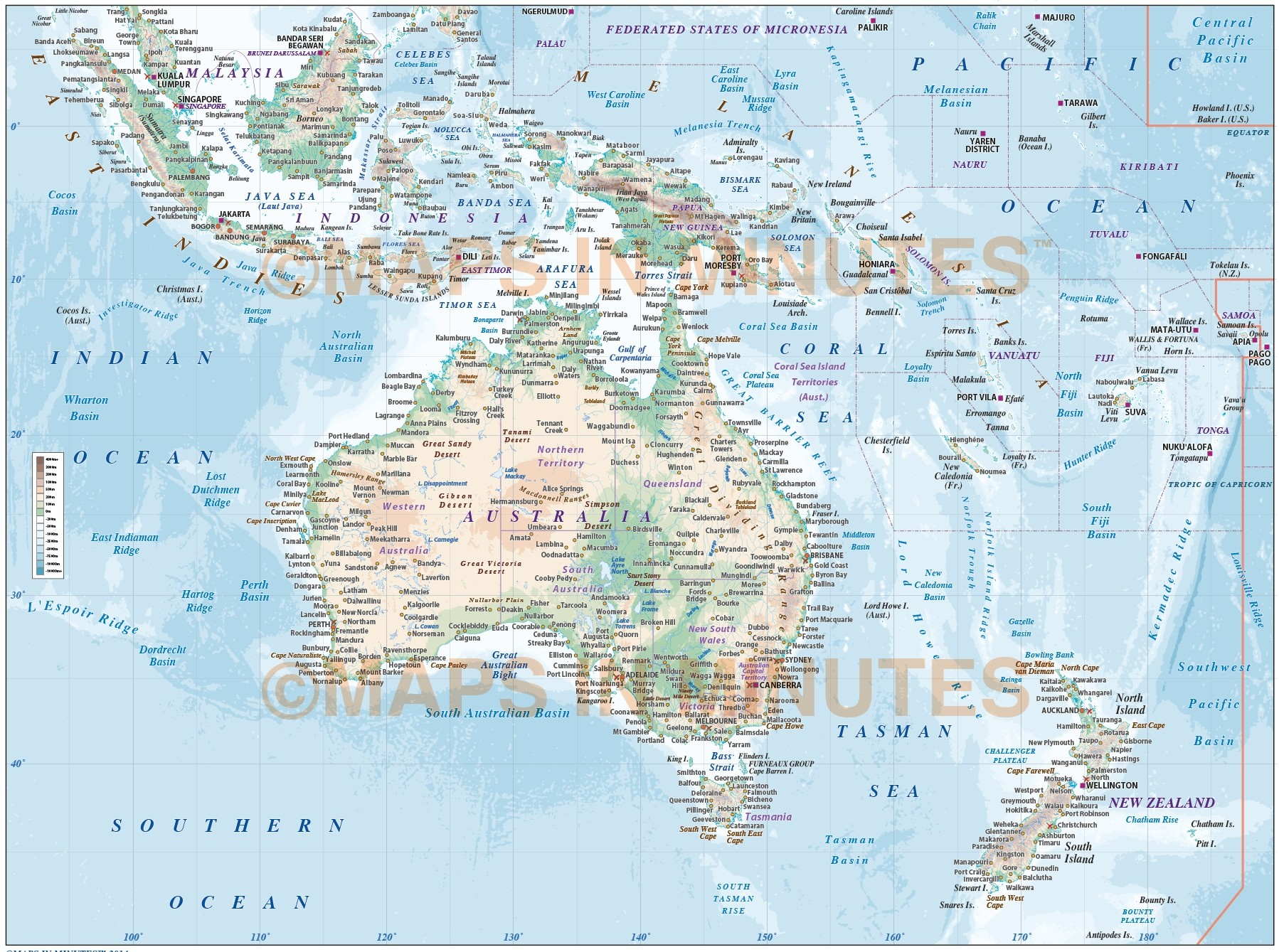 Vector map of australasia region political with land and ocean vector map of australasia continent countries map with high resolution land ocean floor contours gumiabroncs Gallery