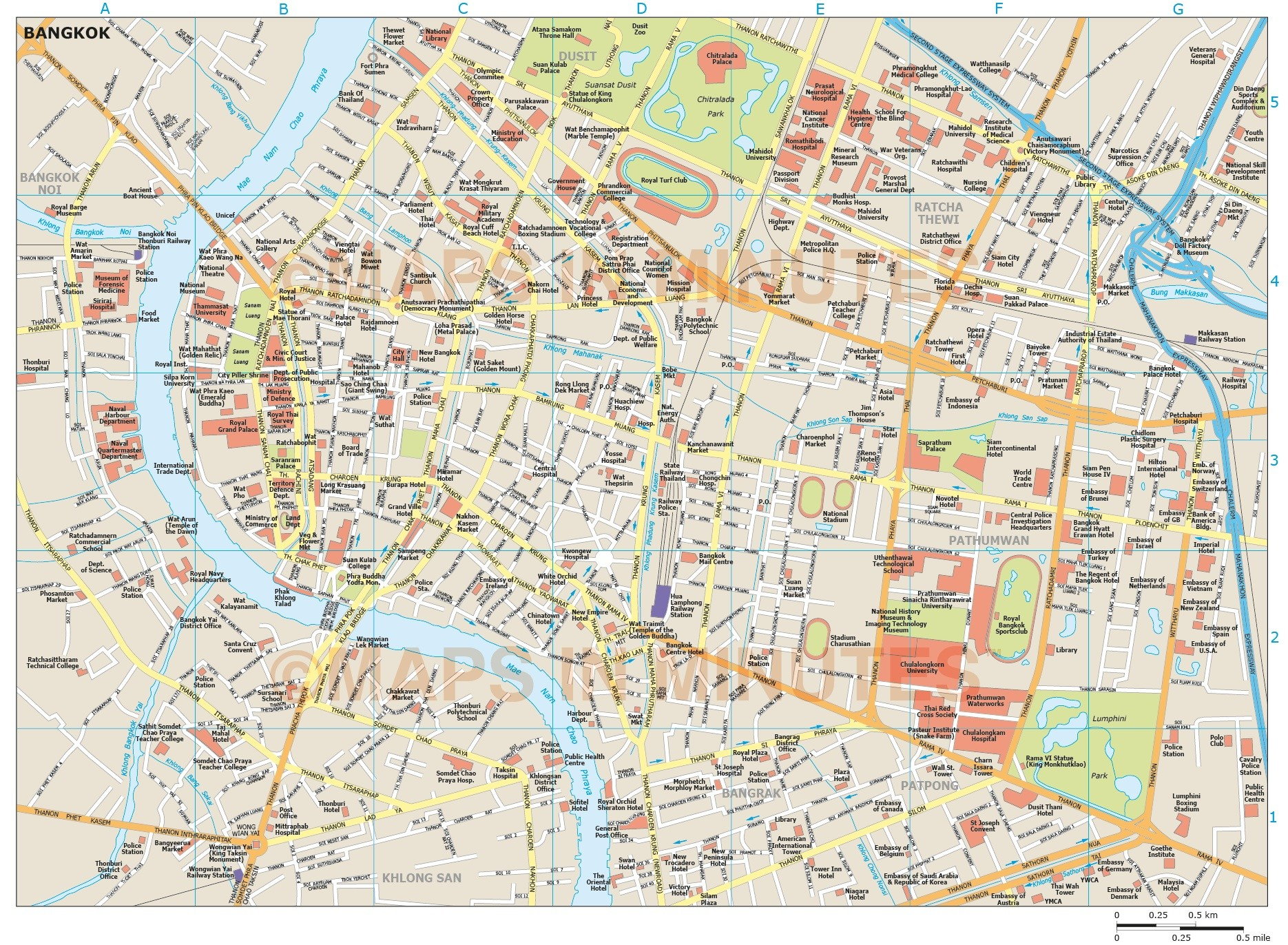 Bangkok city map bangkok city map in illustrator cs or pdf vector format gumiabroncs Image collections