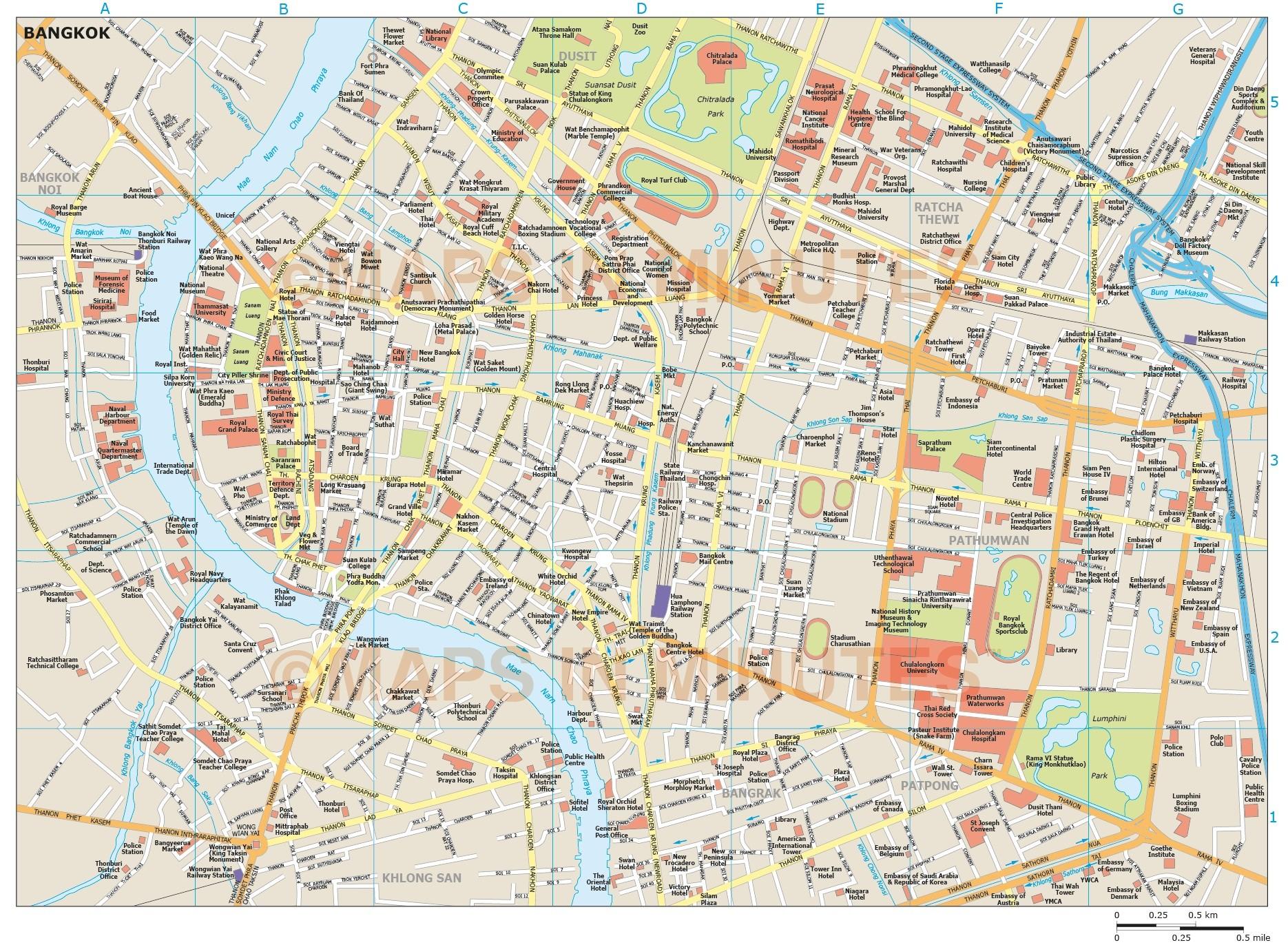 Bangkok city map bangkok city map in illustrator cs or pdf vector format gumiabroncs Gallery