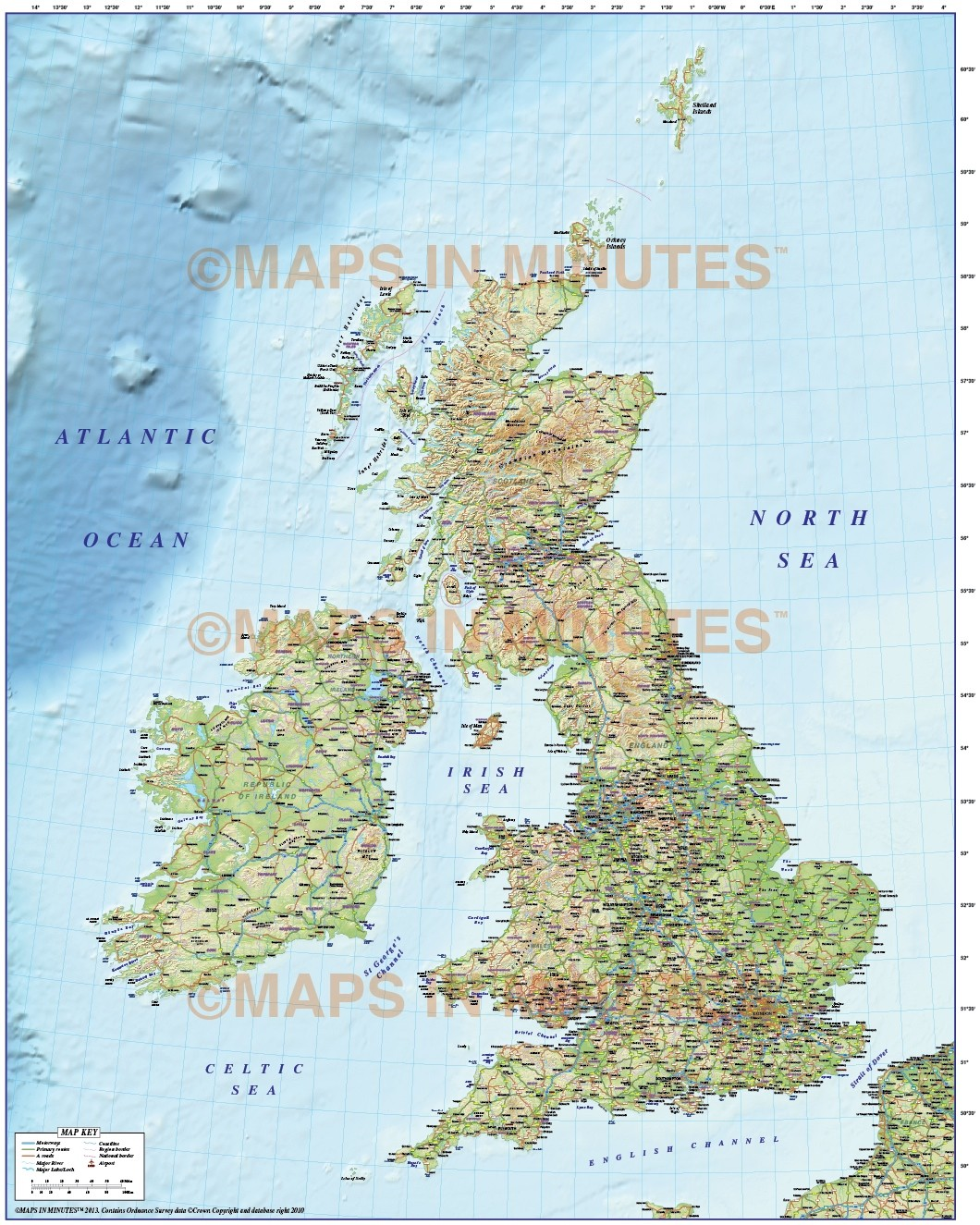 Detailed Road Map Of England.5m Scale British Isles County Road Map With 3 Relief Colour Options