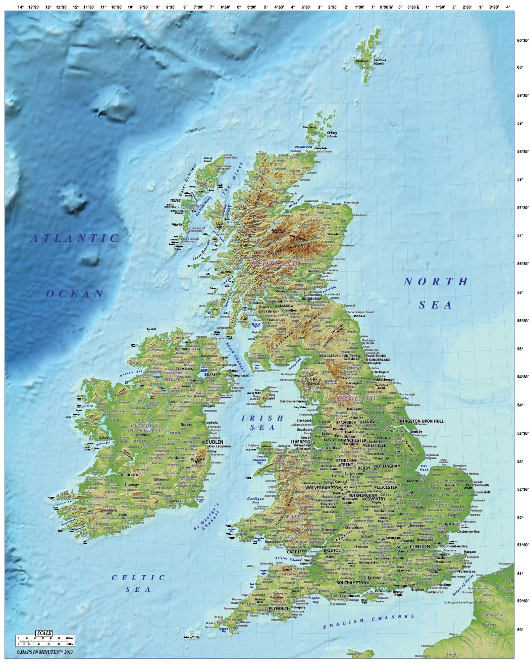 British Isles Physical Map More Views