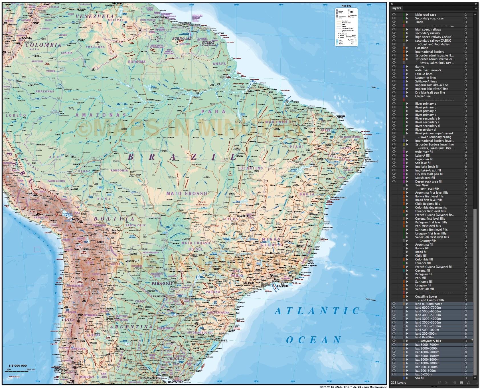 Digital vector brazil deluxe political road rail map plus land and digital vector brazil map deluxe political road rail map showing land sea floor publicscrutiny Choice Image
