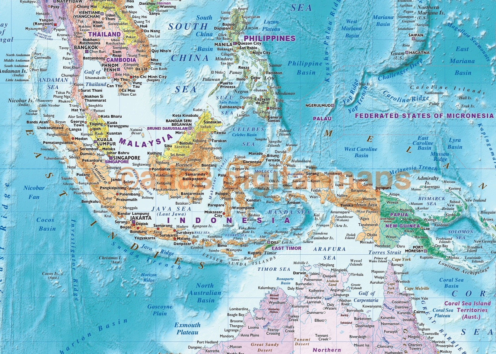 World Wall Map Rolled CANVAS Political colour relief Blue Ocean