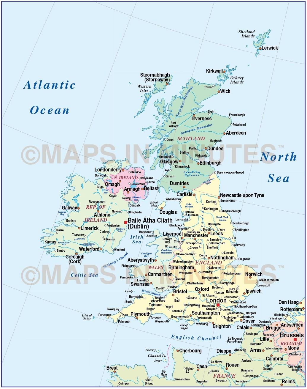 Digital vector British Isles UK map Simple EZRead Country