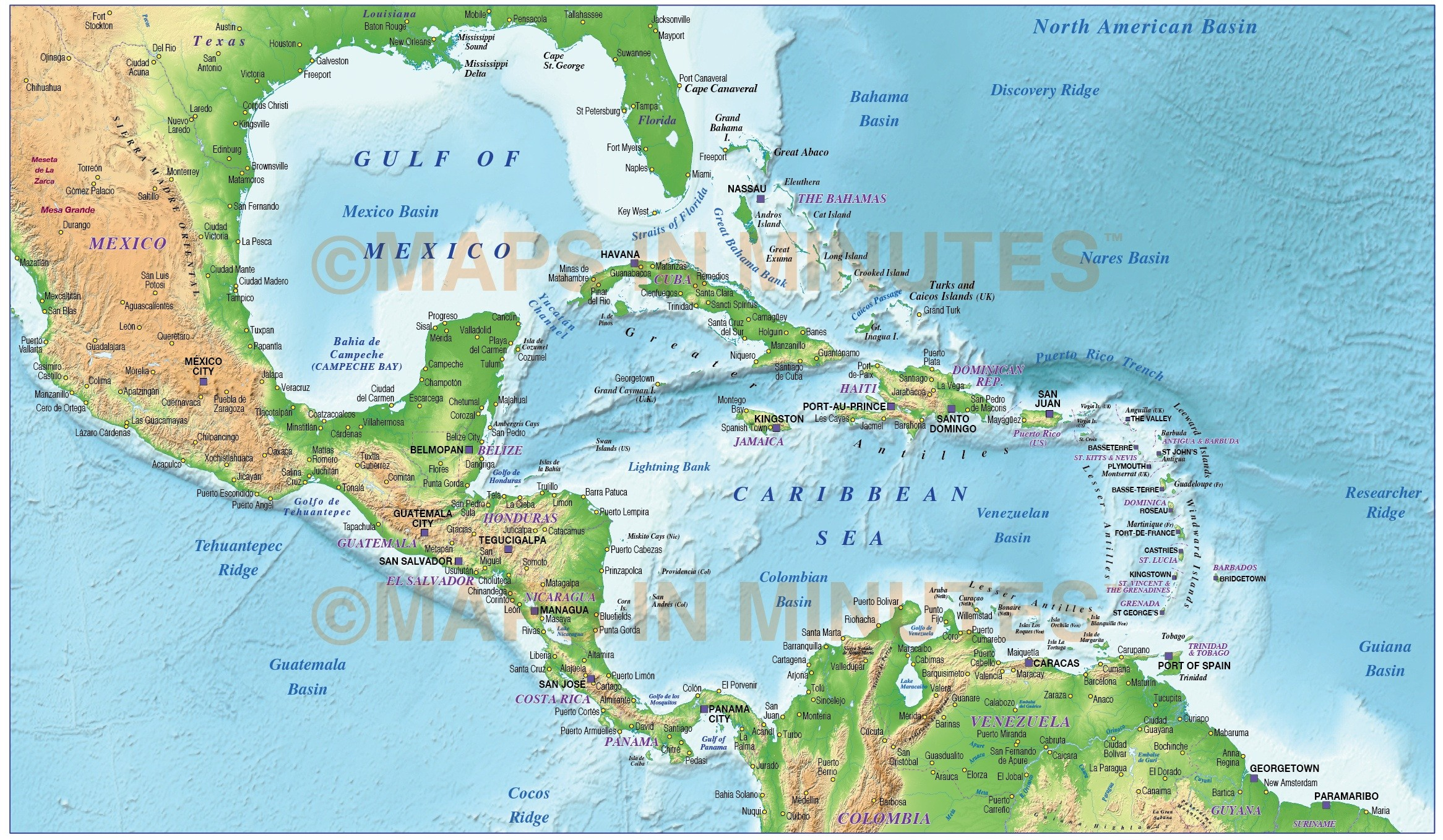 Caribbean Map with Land and Ocean floor