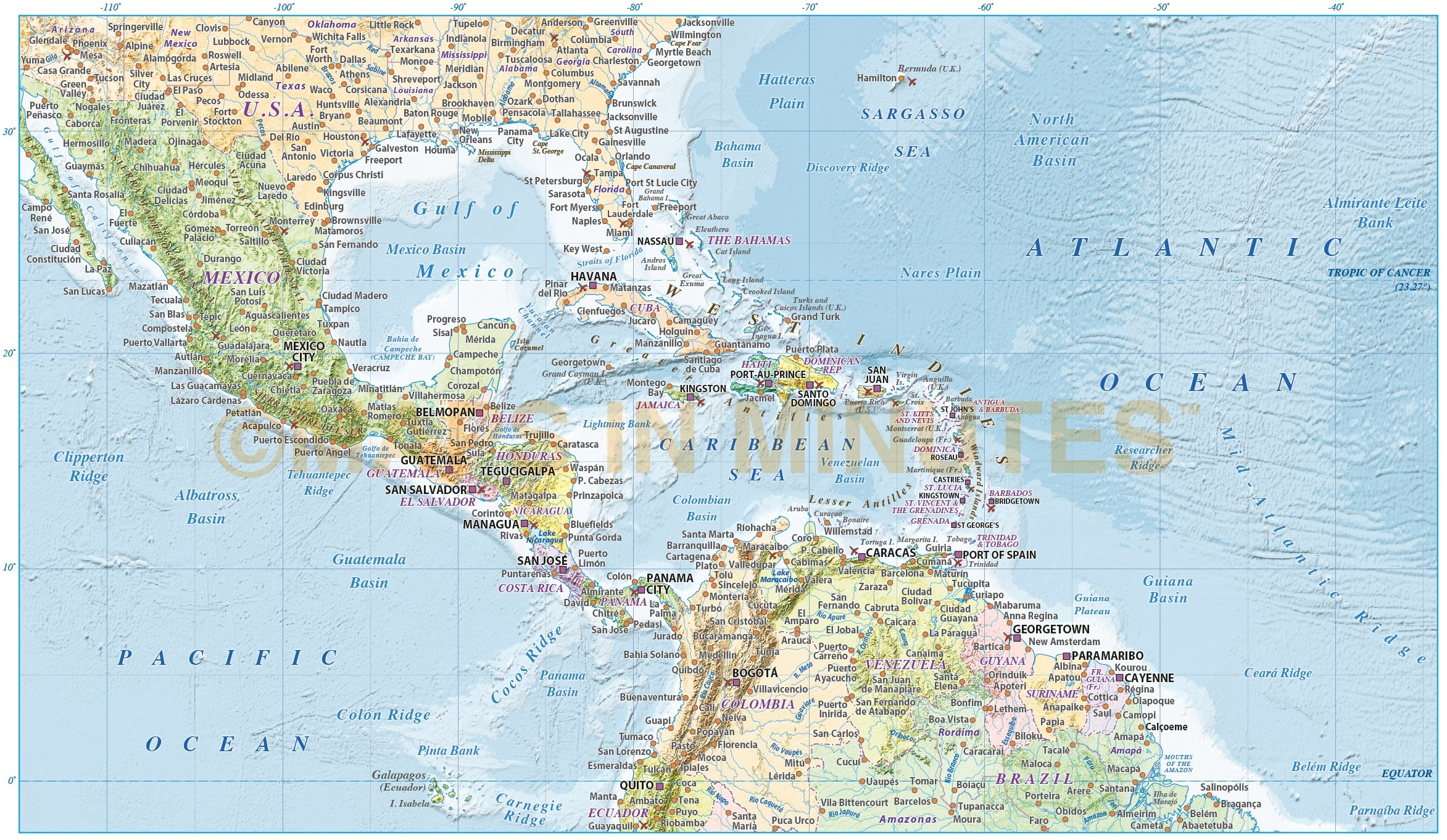 Caribbean/Central America map with Political colour relief ... on
