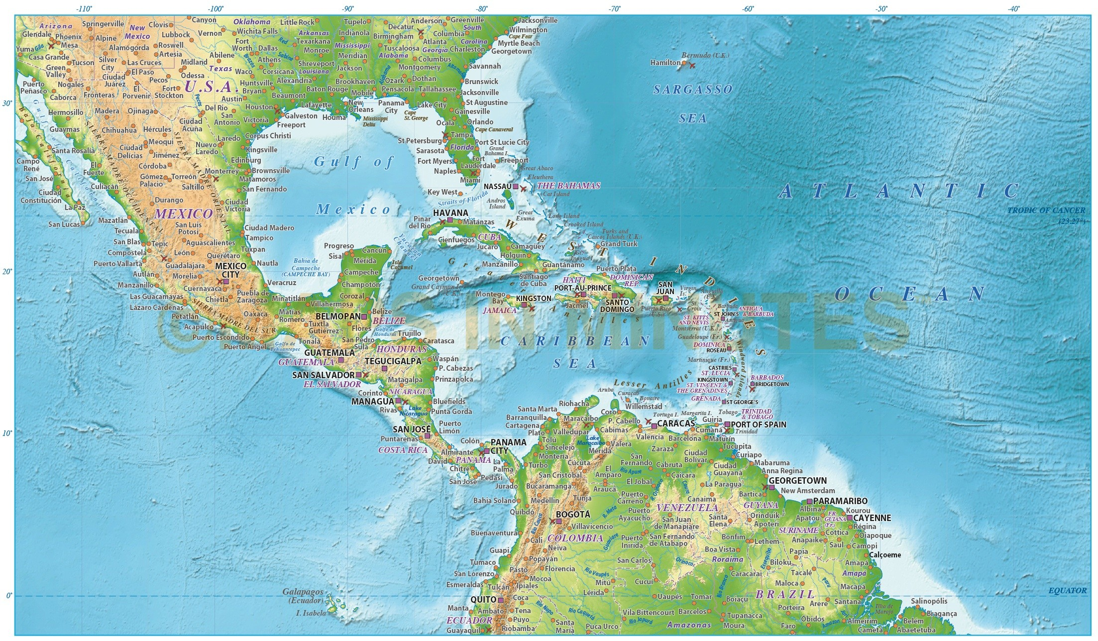 Caribbean map with land and ocean floor relief 10m scale in central america caribbean relief map 10m scale showing land and ocean floor terrain publicscrutiny Choice Image