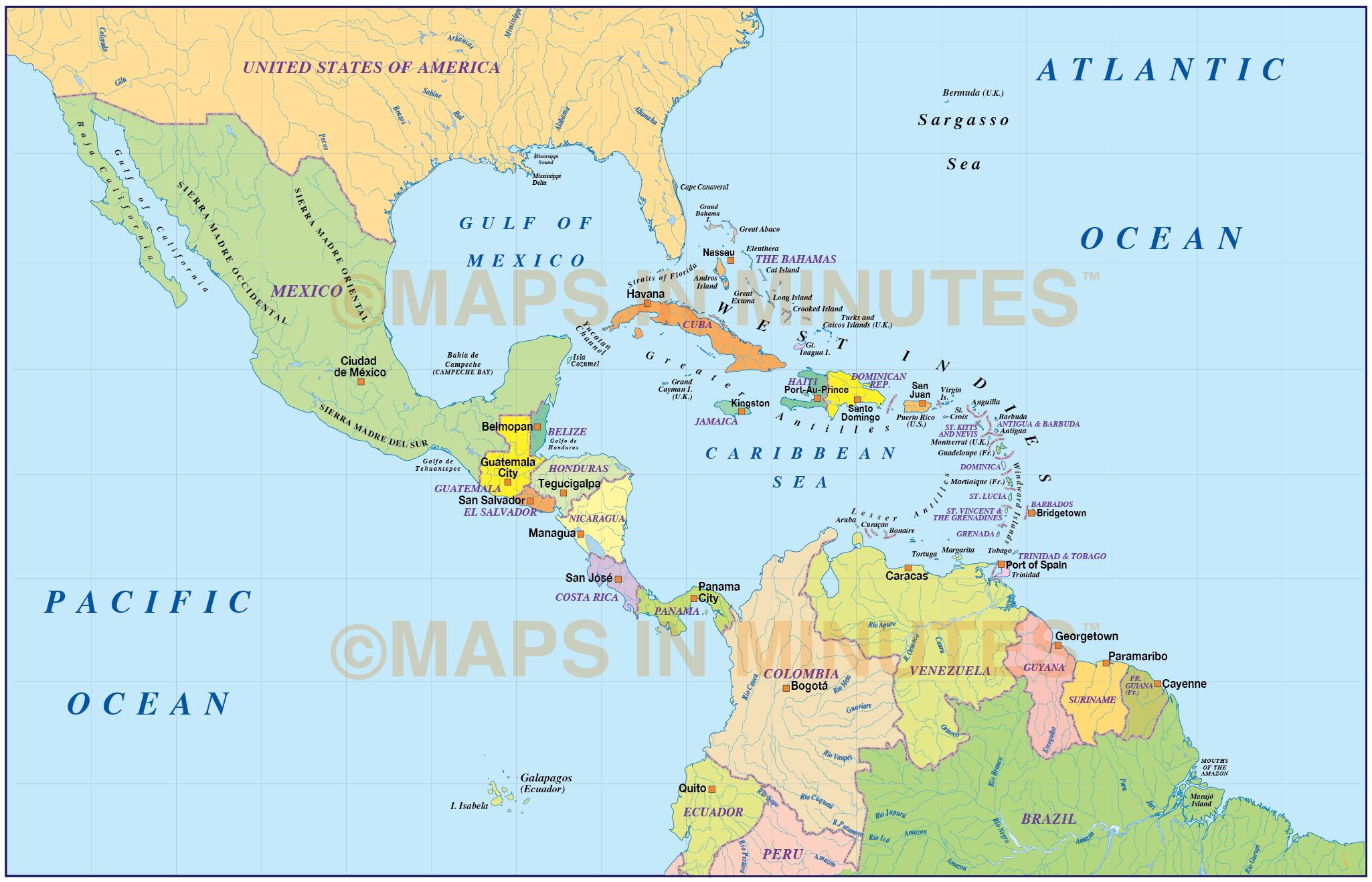 Digital vector Central America & Caribbean Basic Political ...