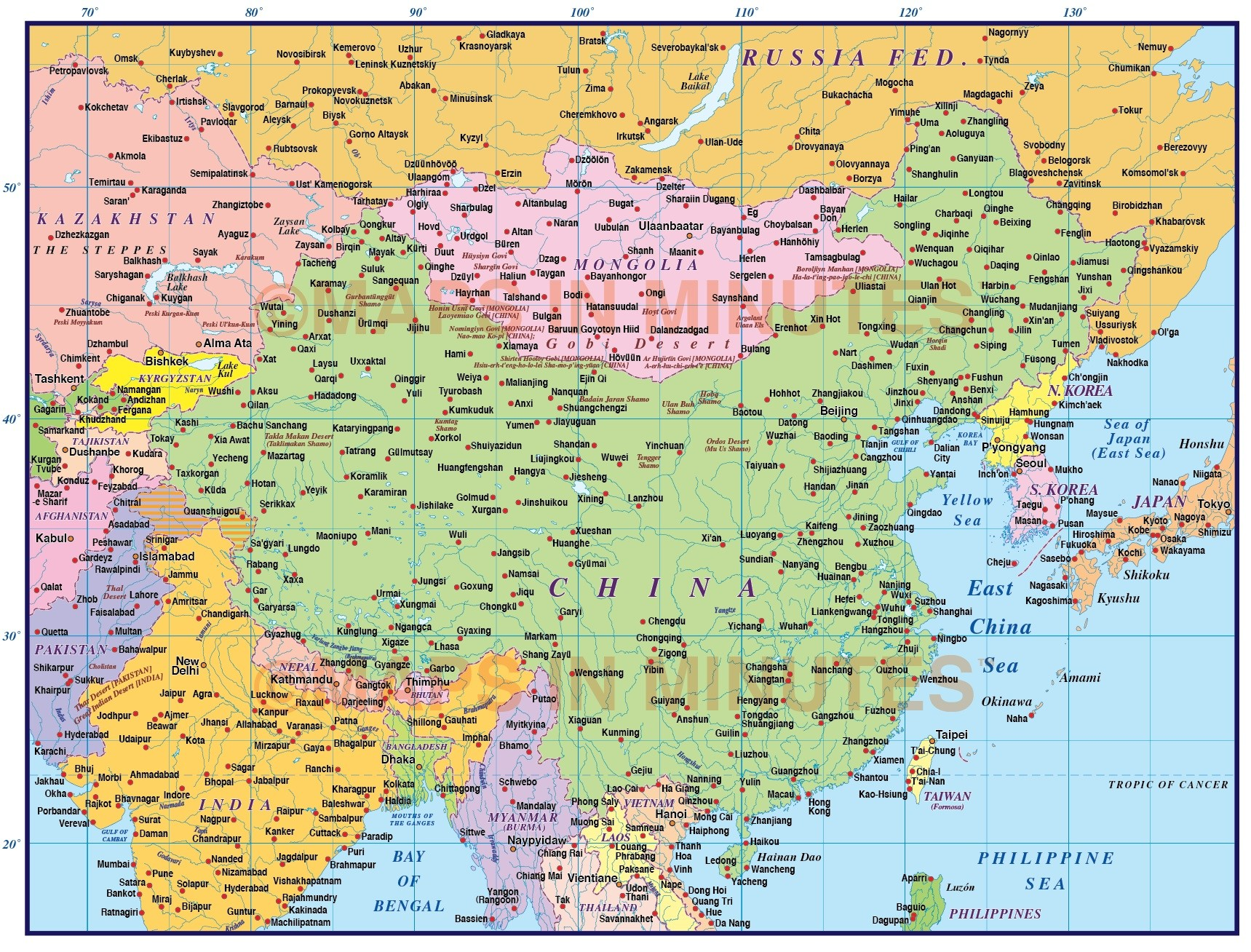 Chinese Political Map.China First Level Political Country Map 10 000 000 Scale In