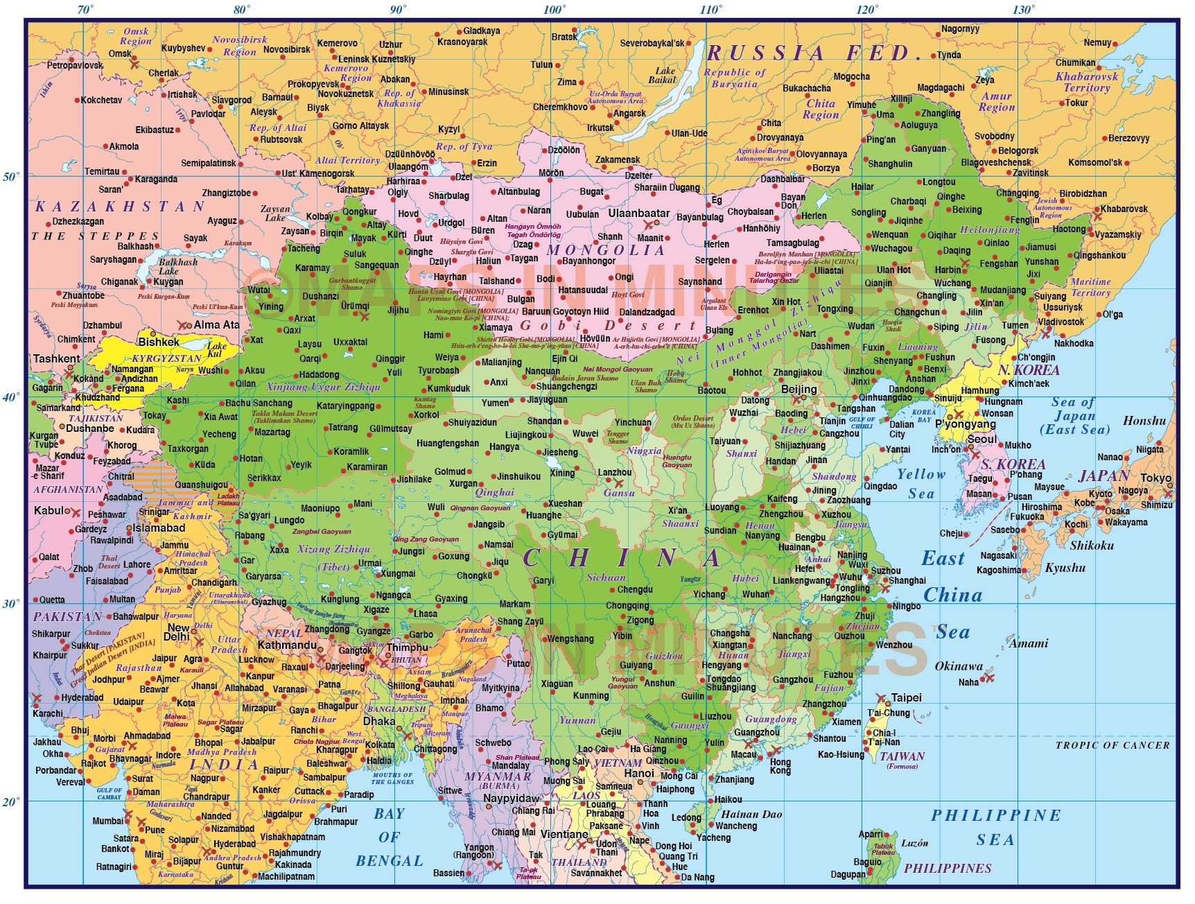 China First level Political Country Map @10,000,000 scale in ...