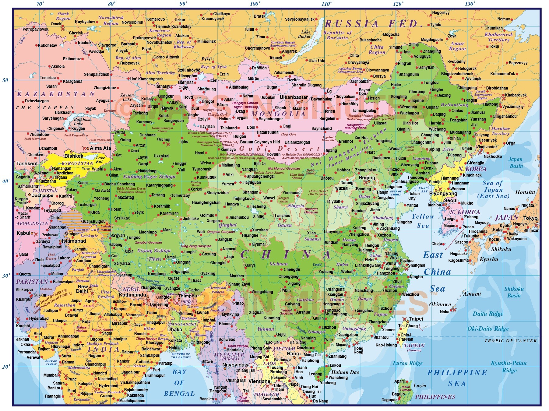 Digital vector China Political Country Map, first level @10,000,000 ...
