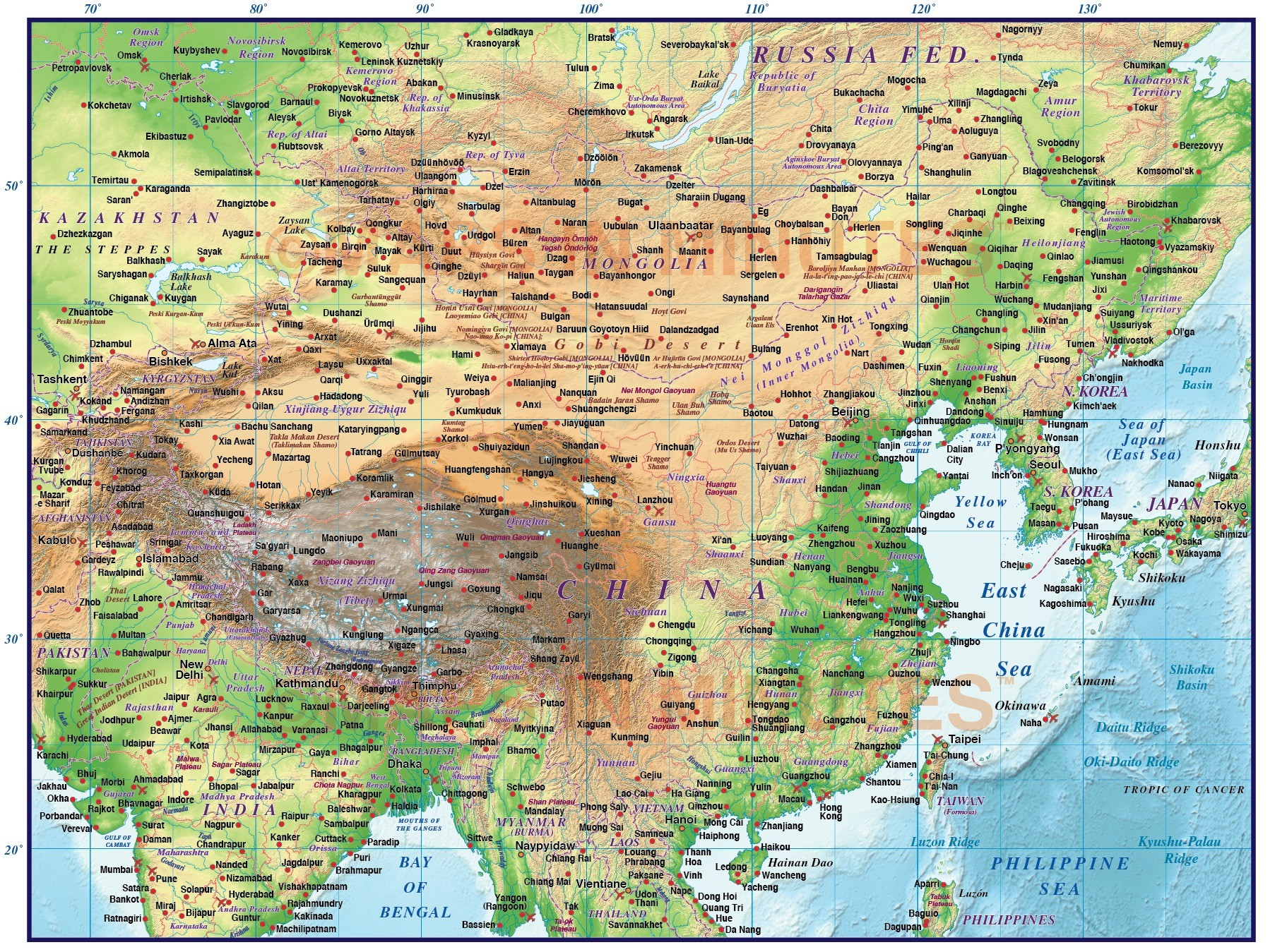 Digital Vector China First Level Political Country Map @10,000,000 Scale In Illustrator Layered