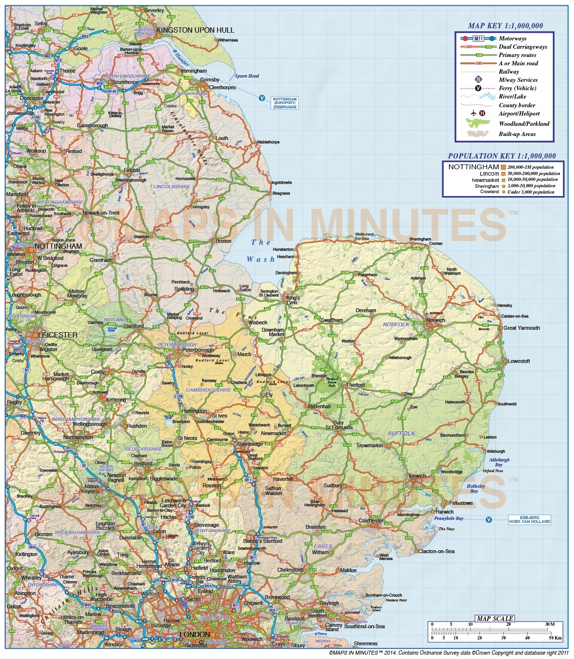 Map Of East Uk.Digital Vector East England County Road And Rail Map 1m