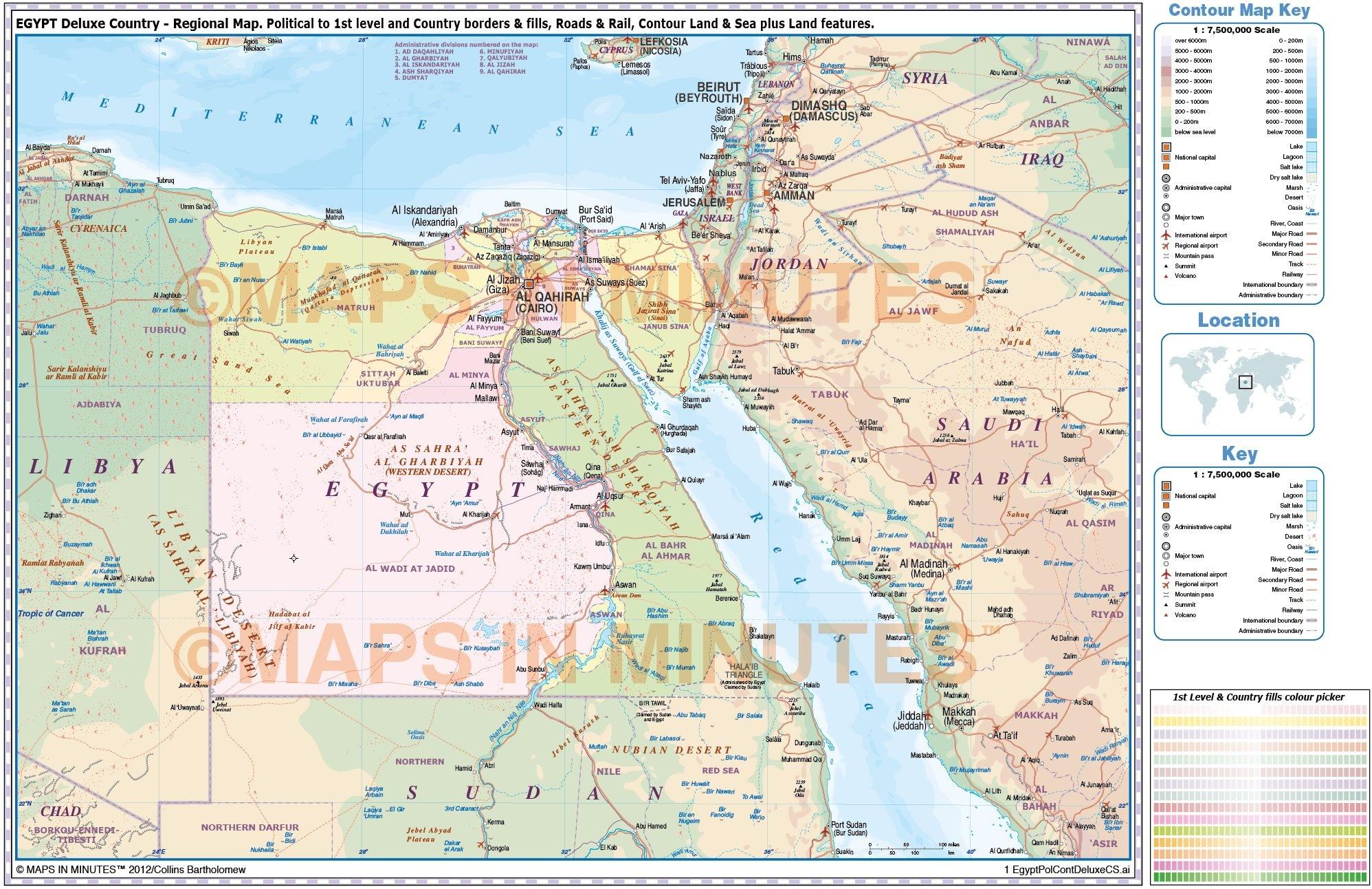 Egypt digital vector political, road & rail map in ... on dubai map, khartoum map, alexandria map, aleppo map, casablanca map, shiraz map, jakarta map, tehran map, medina map, tahrir square map, addis ababa map, paris map, africa map, constantinople map, kabul map, pyramid of giza map, cape town on map, mombasa map, lagos map, jerusalem map,