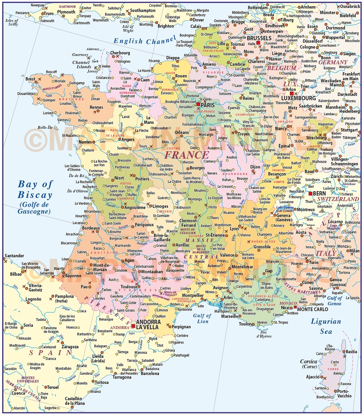 Map Of France With Regions.France Illustrator Vector Map