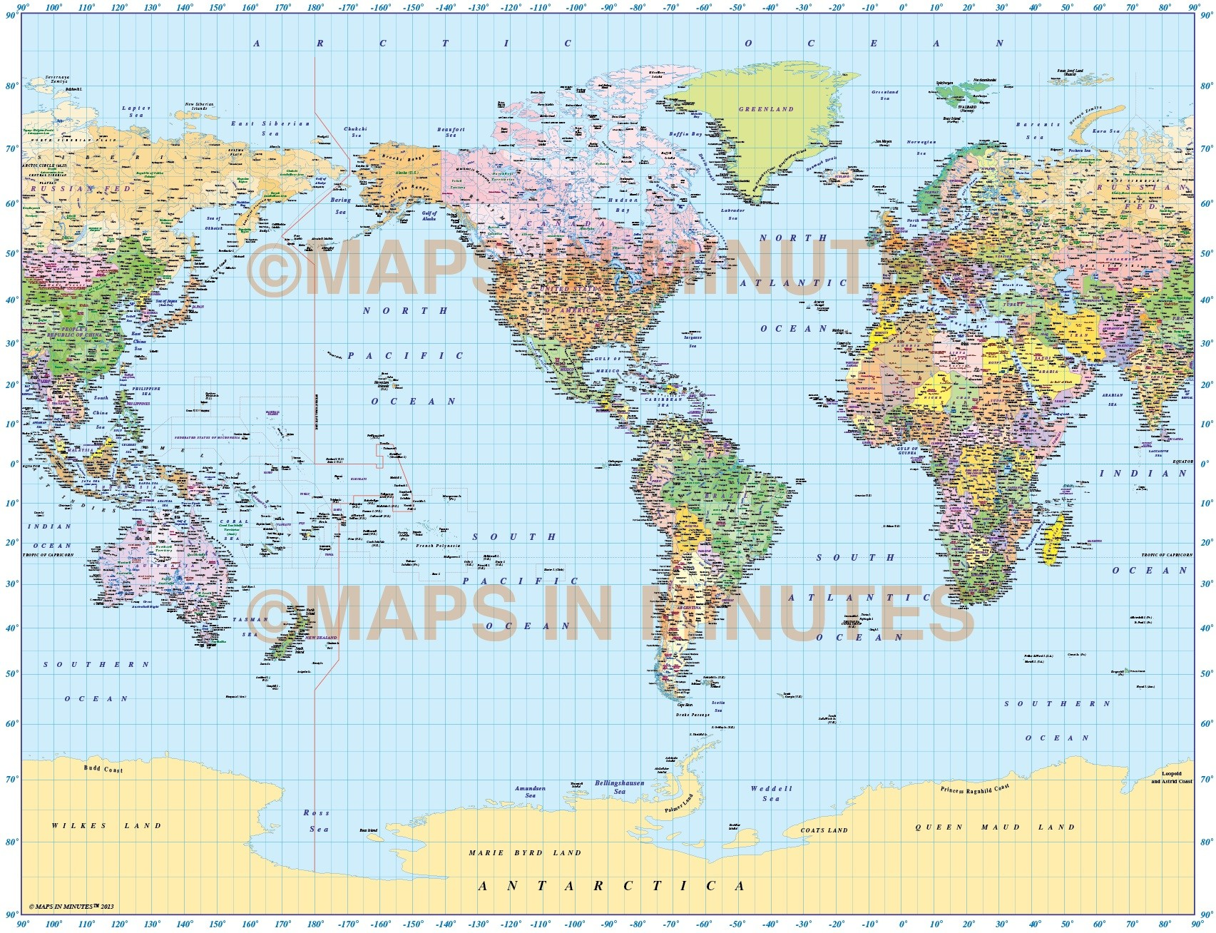 Us Centric World Map Vector world map, Gall Projection Political map (US centric) @10M