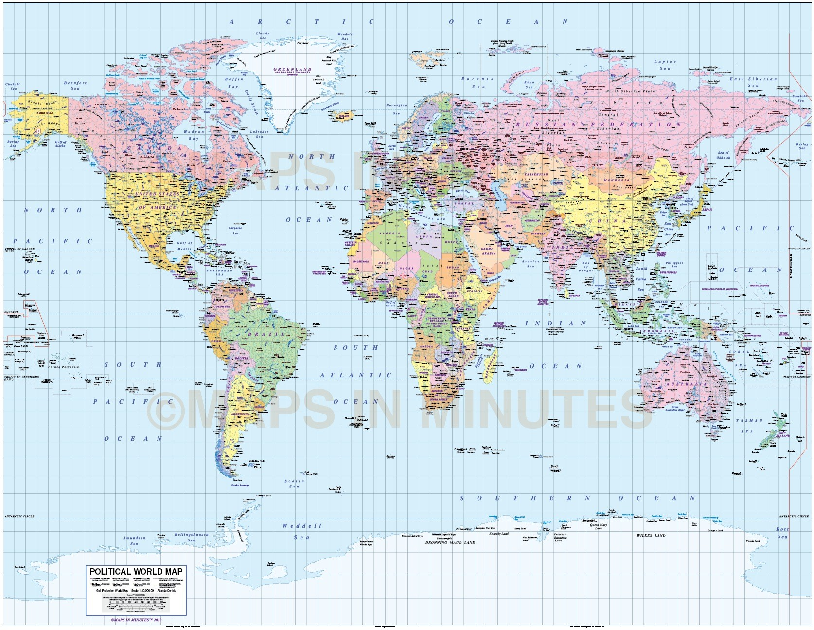 whole world map gall projection plus sea contours uk centered 10m scale