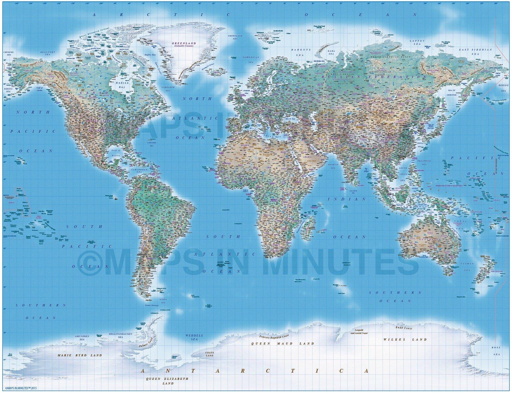 Digital Vector Political World Map With Natural Earth Relief - Earth political map