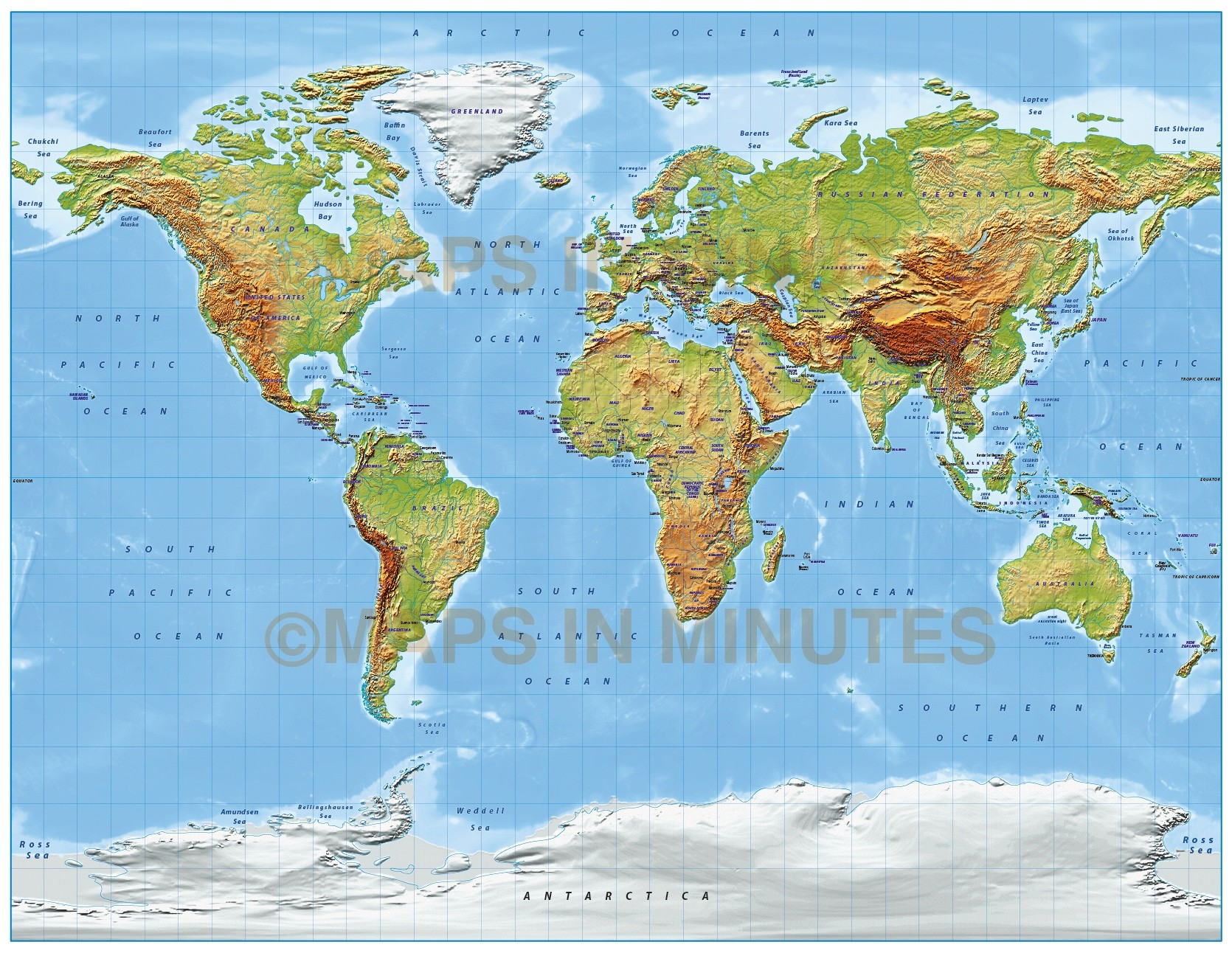Relief Map Of The World.Digital Vector World Relief Map In The Gall Projection Medium