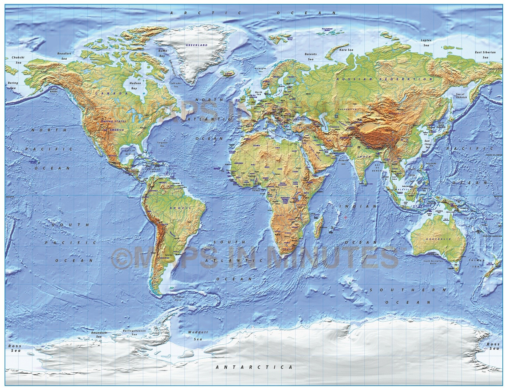Digital Vector World Relief Map, Gall Projection In Regular U0026 Medium  Colours, UK