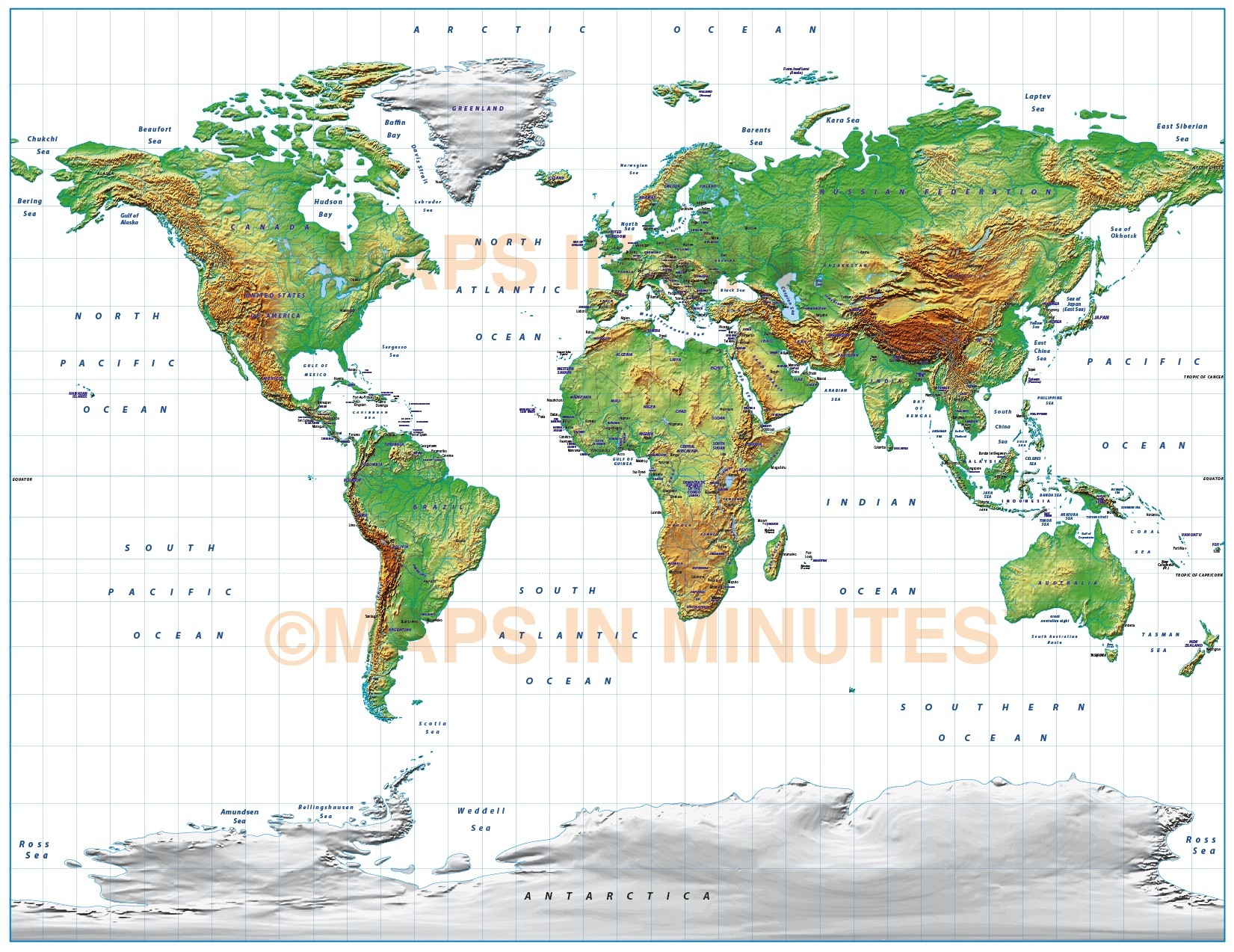 Digital vector royalty free world relief map in the gall digital vector world relief map gall projection in medium land colours uk centric gumiabroncs Images