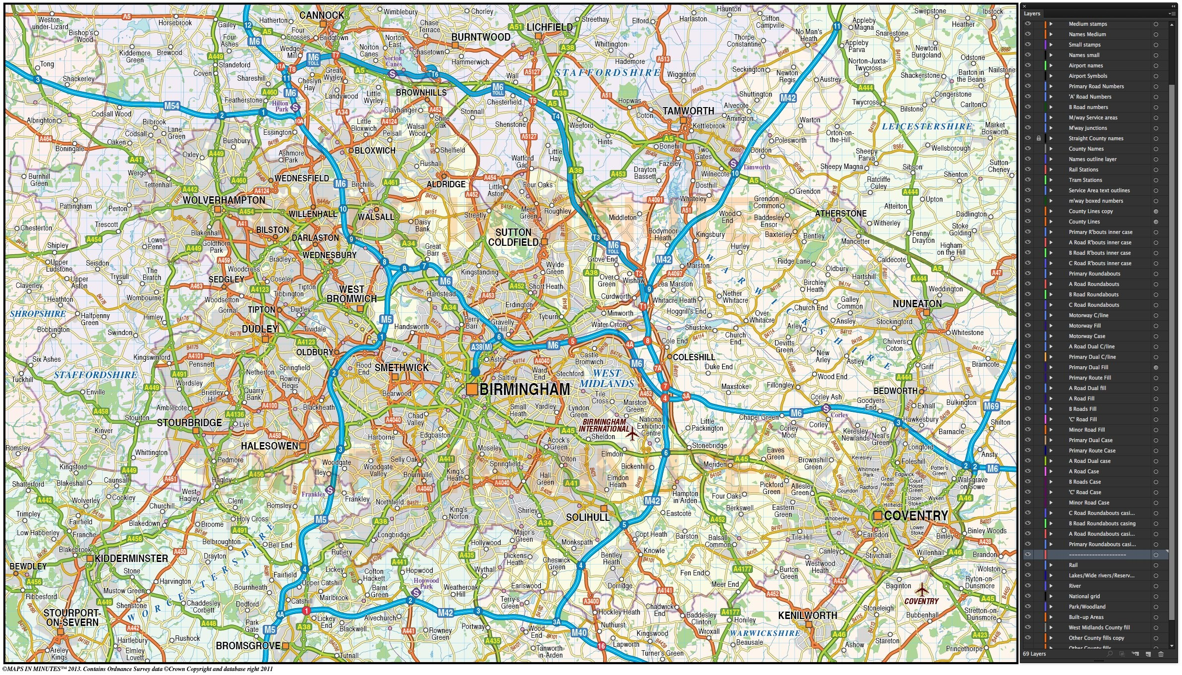 Loss Of Use Coverage >> Digital vector map of Greater Birmingham-Coventry @250k scale in illustrator editable format ...
