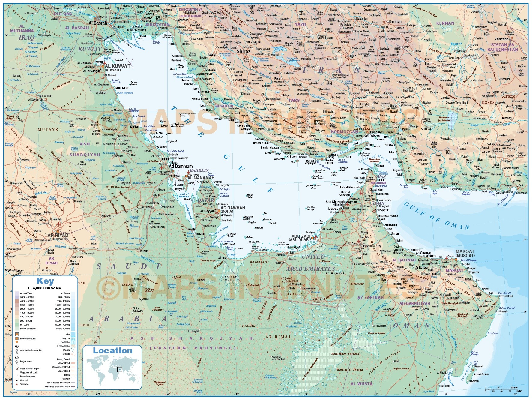 gulf political deluxe map with roads rail and land sea contours showing land