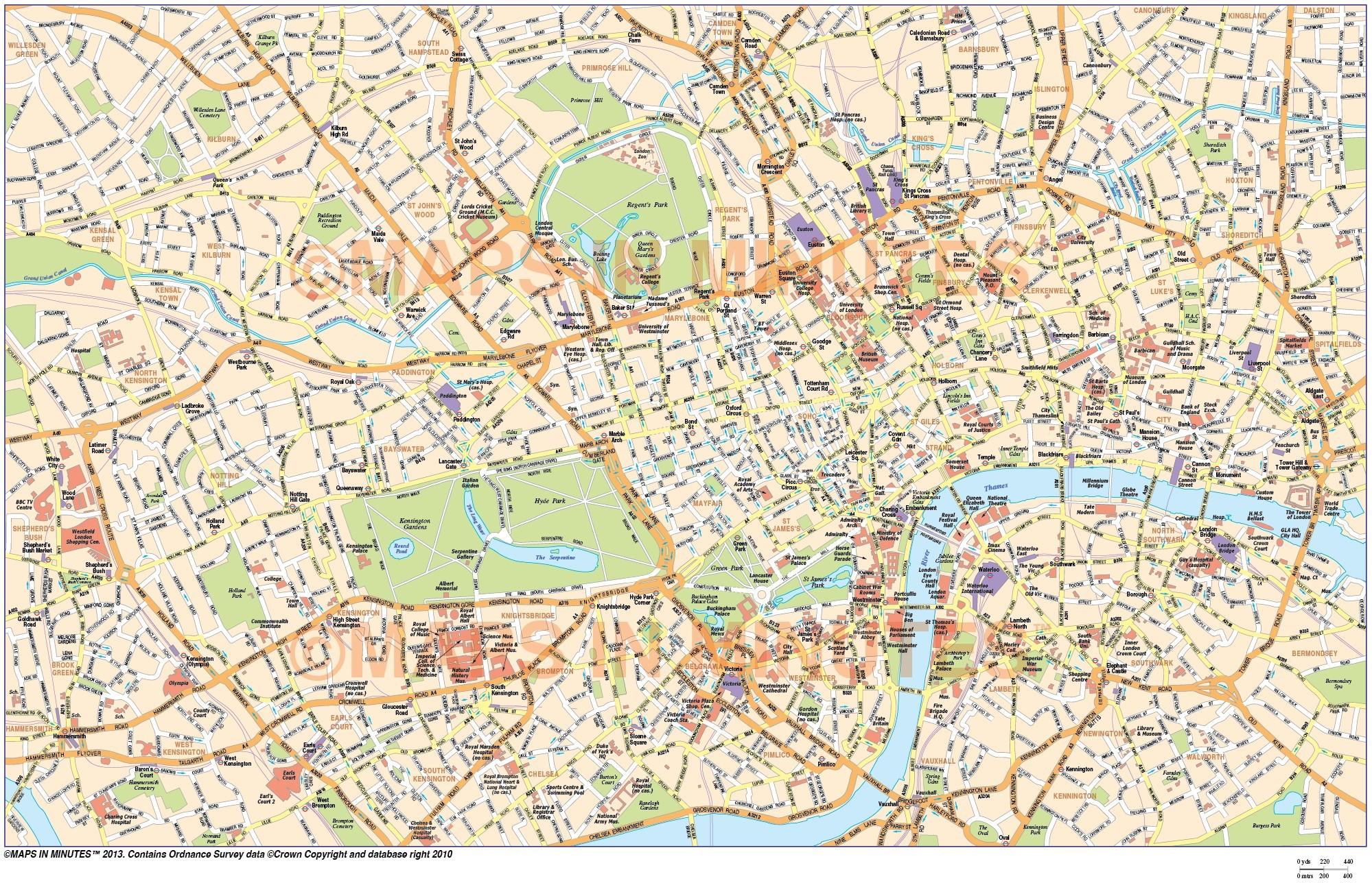 London Atlas Map.Digital Vector Map Of London In Illustrator Editable Format Royalty