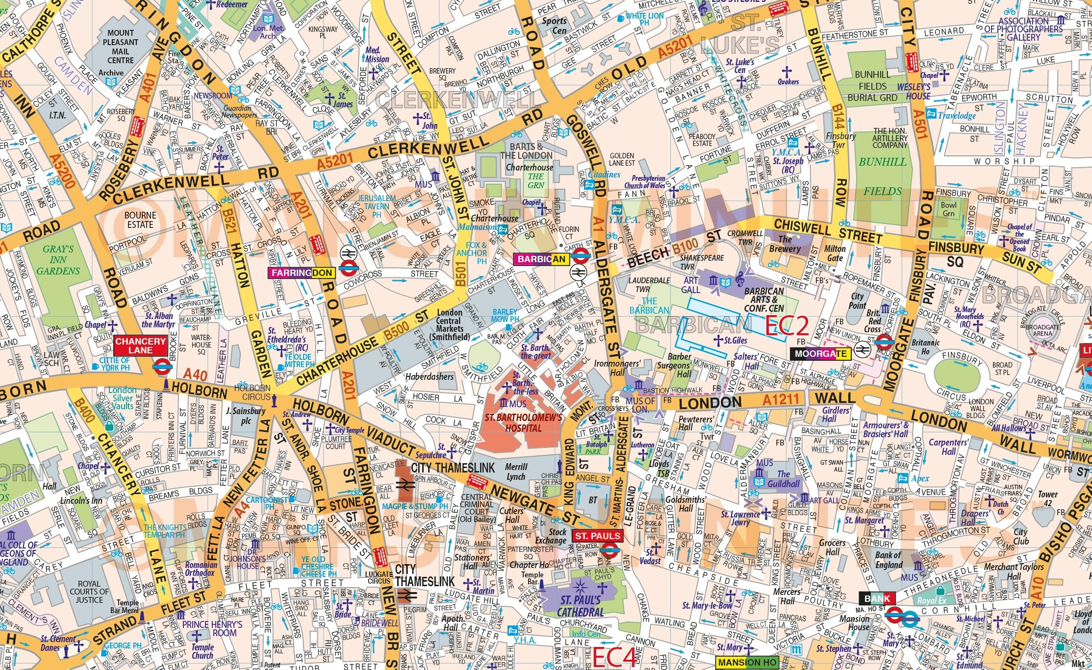 Vinyl Central London Street Map Large Size 1 2m D X 1 67m W