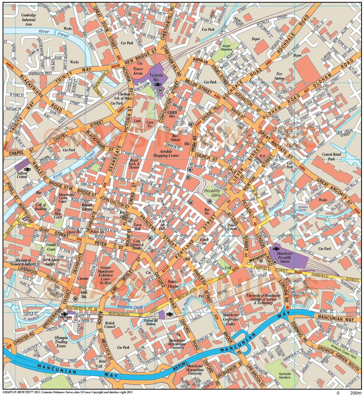 manchester uk city map in illustrator cs or pdf format