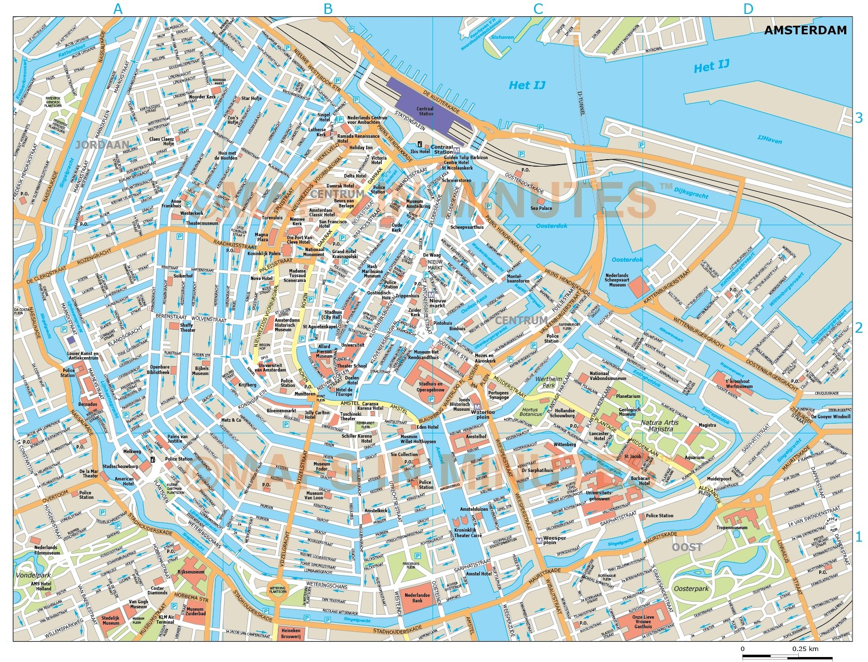 graphic regarding Printable Map of Amsterdam named Vector Amsterdam town map inside Illustrator and PDF electronic formats