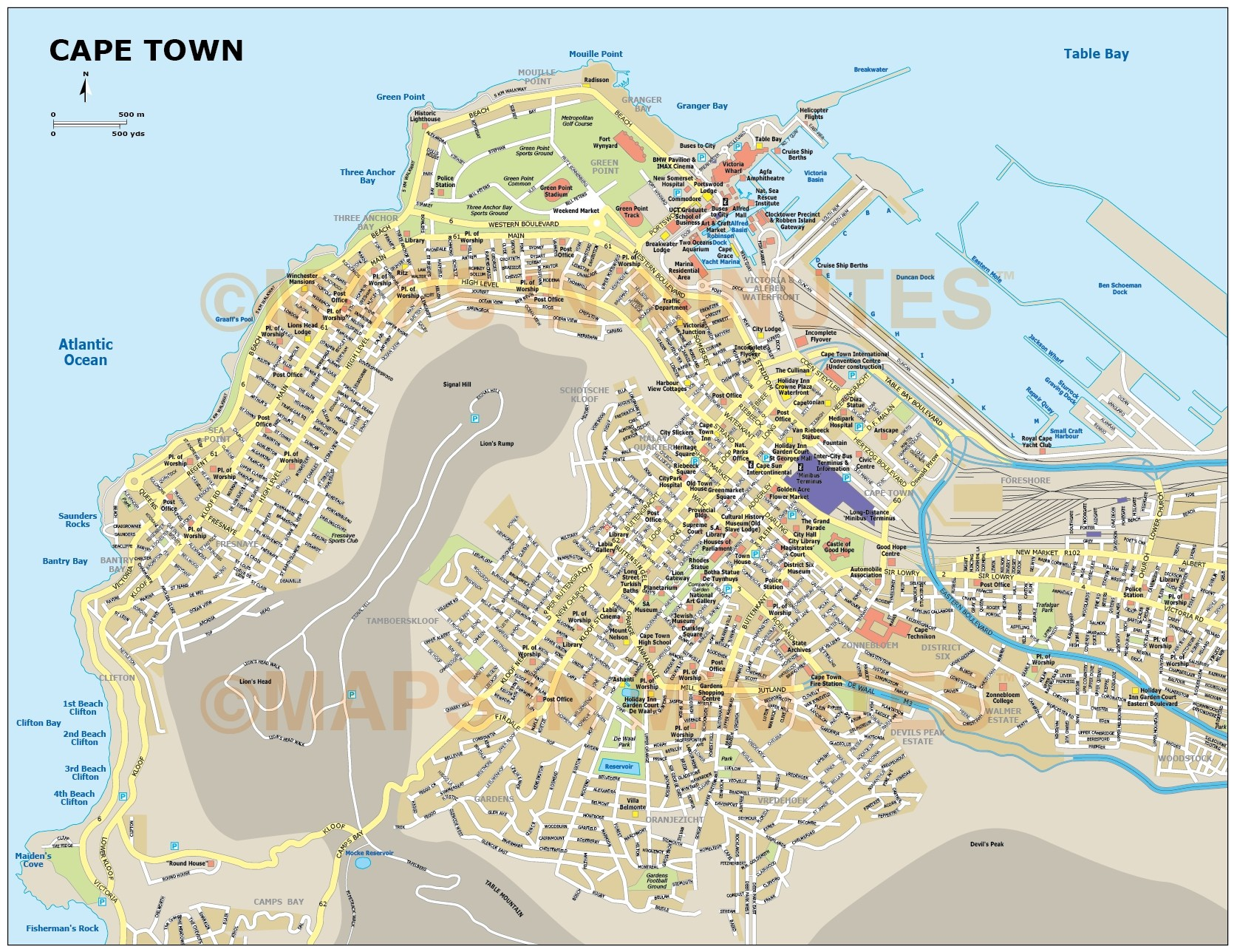 Cape Town city map in Illustrator and PDF digital vector maps Cape Town Maps on