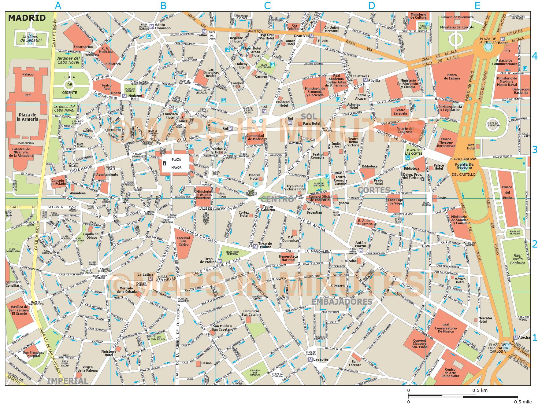 Royalty Free Madrid Illustrator Vector Format City Map