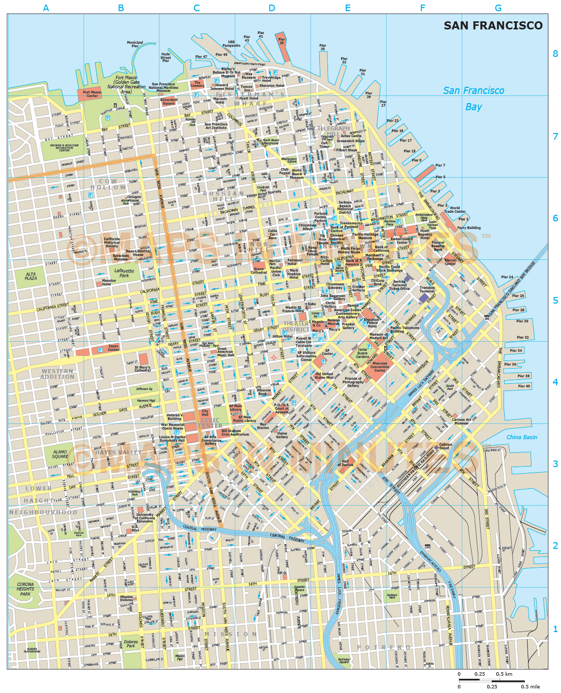 image regarding Printable Map of San Francisco named royalty totally free san francisco illustrator vector structure town map